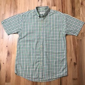 Orvis plaid green white blue plaid shirt sleeve